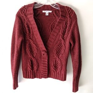 CAbi Rosette Lambs Wool Cardigan, M